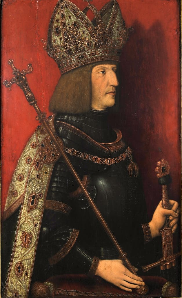 Maximilian I in Imperial Regalia (after 1508), Bernhard Stringel.