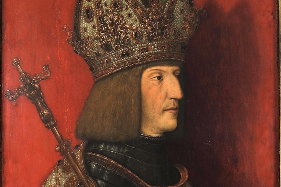 Maximilian I in Imperial Regalia (detail; after 1508), Bernhard Stringel.