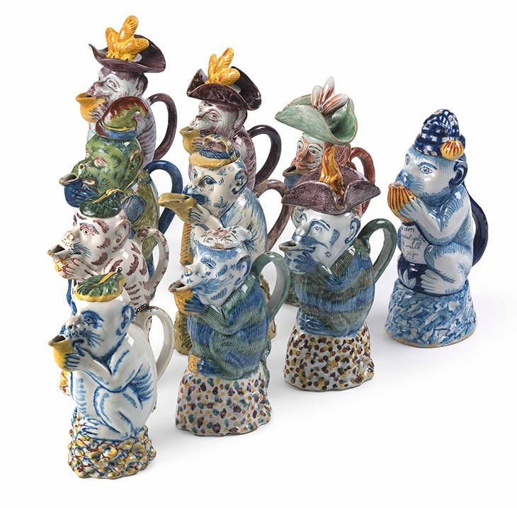 Milk jugs in the form of a monkey, Delft, 1750–1770.
