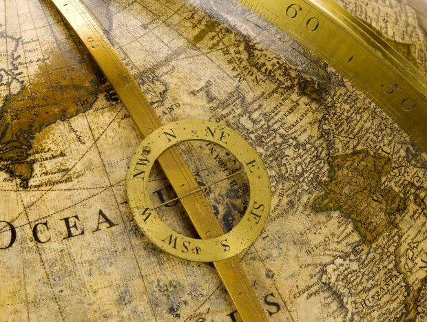 Detail of a terrestrial globe made in 1766 by George Adams in 1766. Photo: © The Science Museum Group