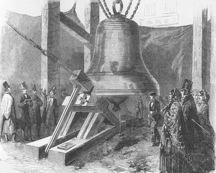 A sounding experiment on the first bell for St Stephen's Tower, Westminster, commonly known as Big Ben, depicted in the Illustrated London News in December 1856