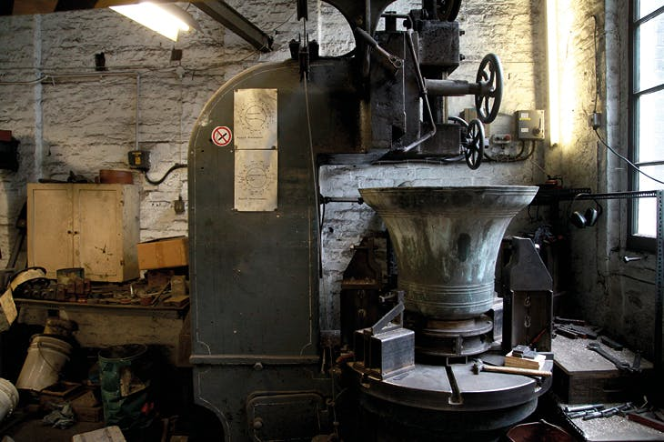 Interior of the Whitechapel Bell Foundry, London, photographed in 2014.