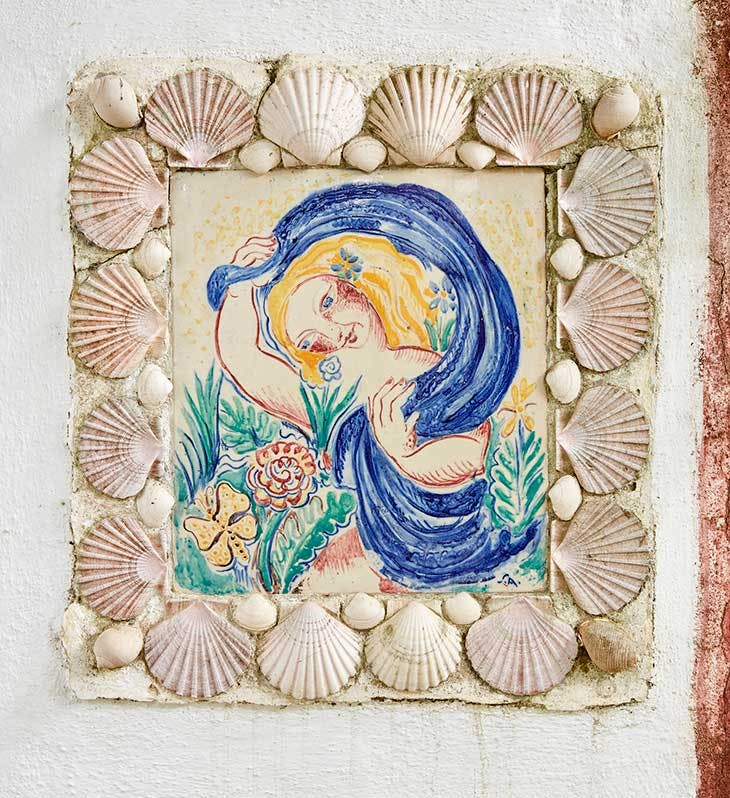 Tile panel with mermaid decorating the porch at Quinta da Lameirinha, Affonso's home in Bicesse.