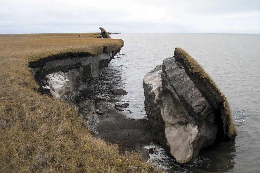 A collapsed block of ice-rich permafrost at Drew Point, north Alaska.