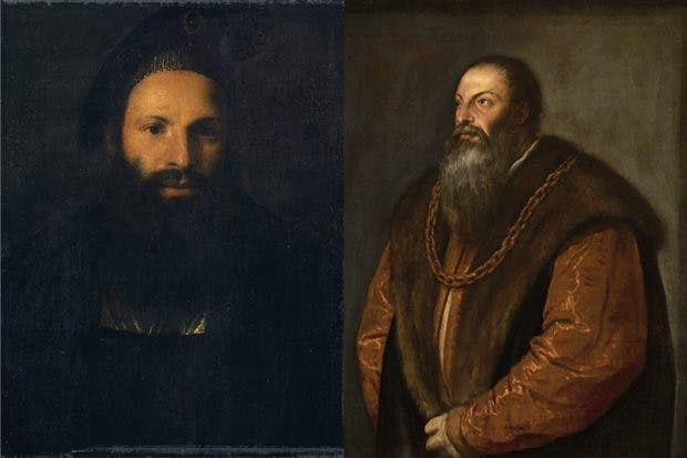 The Kunstmuseum Basel's portrait of Pietro Aretino (left); The Frick's portrait of Aretino (right)