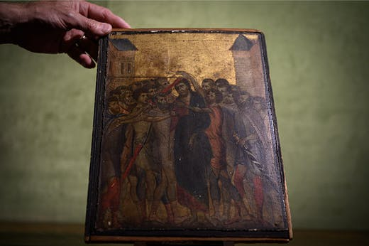 The Mocking of Christ, thought to have been painted by Cimabue, will be auctioned at Senlis on 27 October.