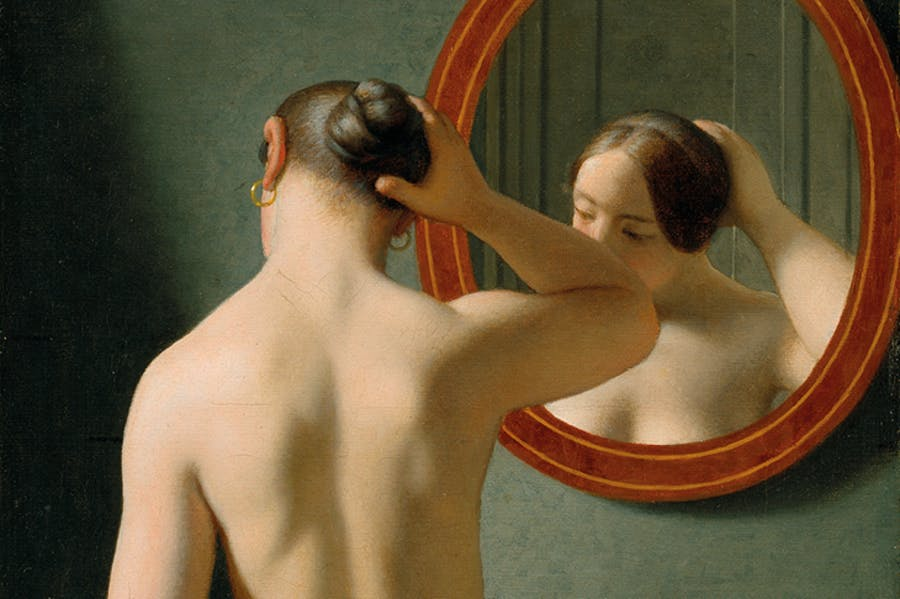 Woman Standing in Front of a Mirror (detail; 1841), C. W. Eckersberg.
