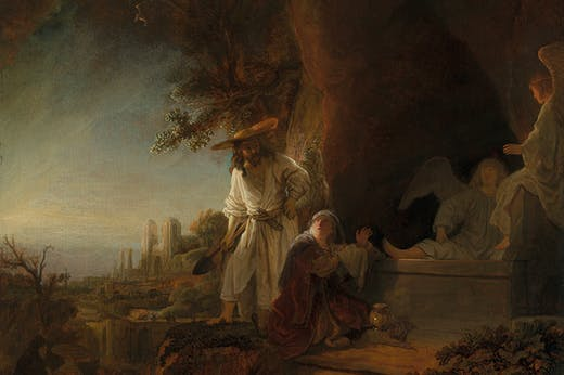 Christ and St Mary Magdalen at the Tomb (detail; 1636), Rembrandt van Rijn.