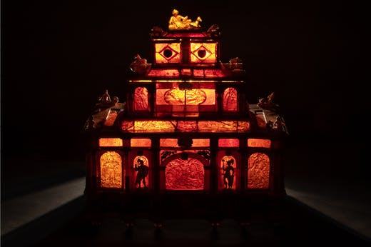 Amber casket in the shape of a three-story monument containing ivory figures, (c. 1660). Waddesdon Manor, Buckinghamshire. Photo: Waddesdon Image Library/Mike Fear