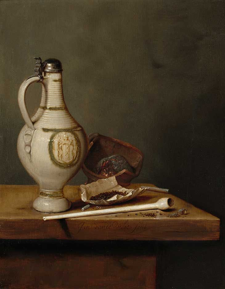 Still Life with Stoneware Jug and Pipe (1650), Jan Jansz van de Velde III. National Gallery of Art, Washington, D.C.