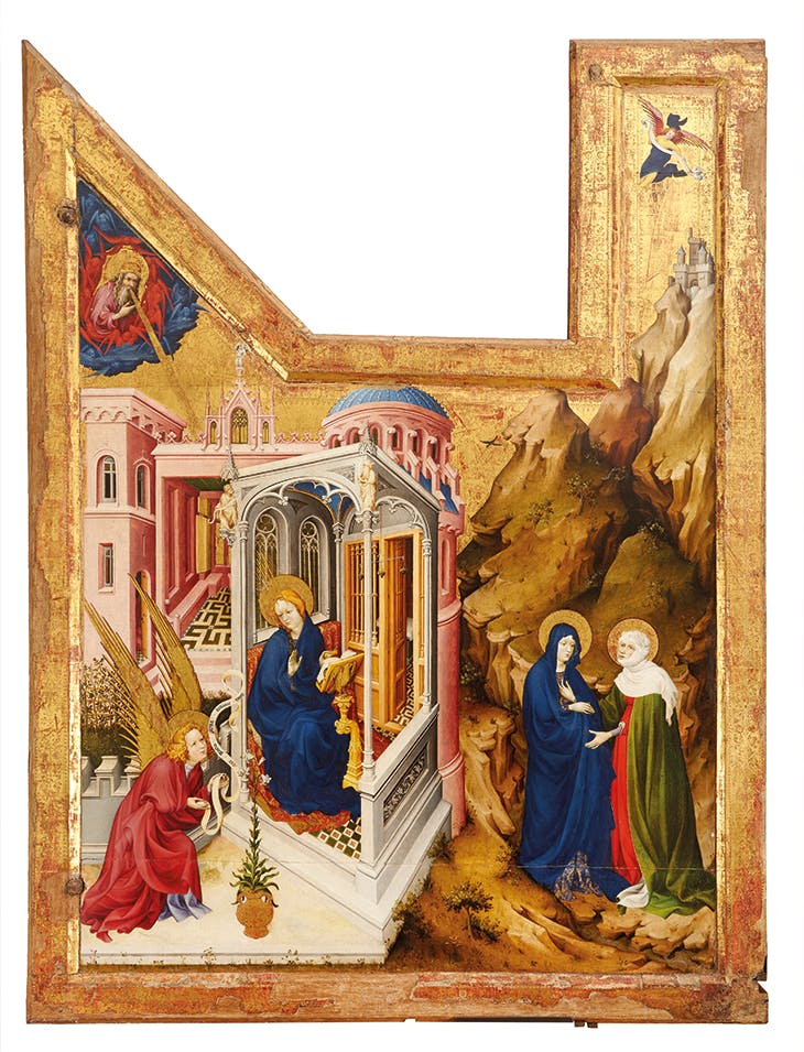 Annunciation and Visitation (wing from the altarpiece of the Crucifixion; 1390–9), Melchior Broederlam.