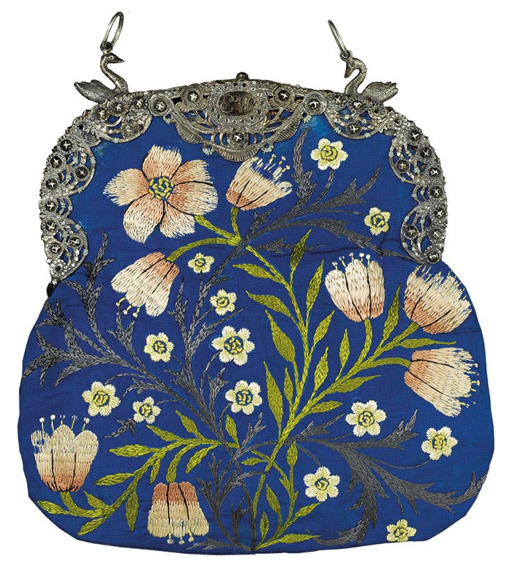 Evening bag (c. 1878), designed and embroidered by Jane Morris.