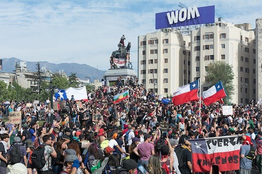 Protestors in Santiago, Chile on 22nd October 2019.