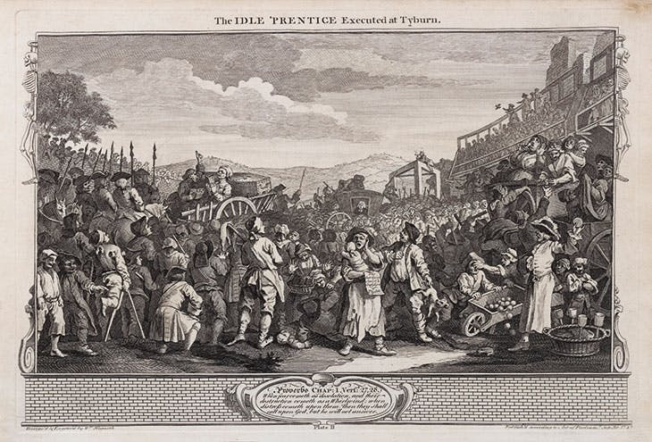 Industry and Idleness, 11: The Idle 'Prentice Executed at Tyburn (1747), William Hogarth.