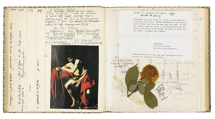 Pages from the notebook Derek Jarman kept in 1985 for the making of 'Caravaggio' (1986), including a reproduction of 'St John the Baptist in the Wilderness'. Courtesy Derek Jarman Special Collection – BFI National Archives/Thames & Hudson; © 2019 The Keith Collins Will Trust