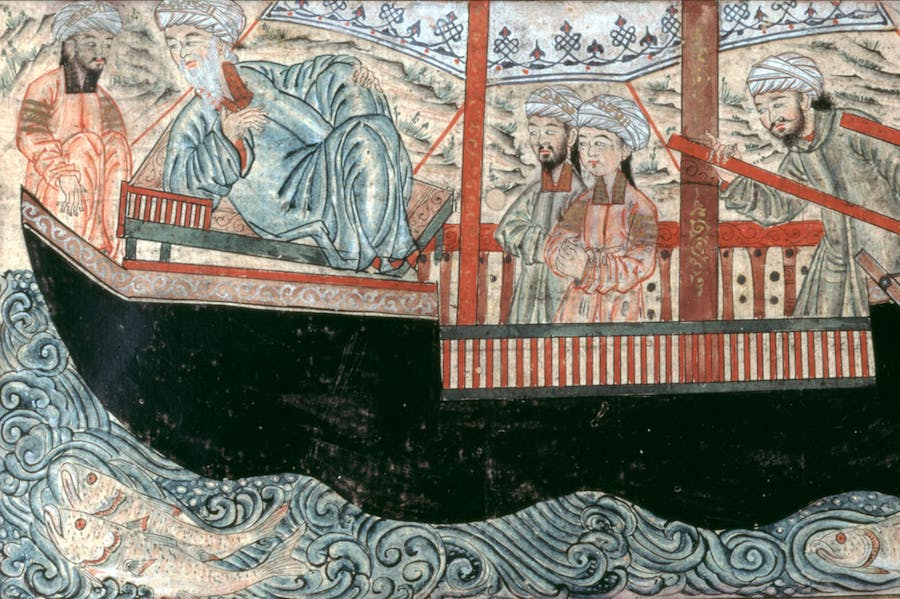Noah's Ark, from the Jami' al-Tawarikh of Rashid al-Din (MS 727), copy from 1314–15.