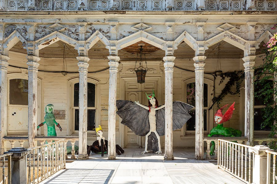 Installation view of Monster Chetwynd's Hybrid Creatures (Snake, Spider, Bat, Crocodile) at the Istanbul Biennial, 2019.