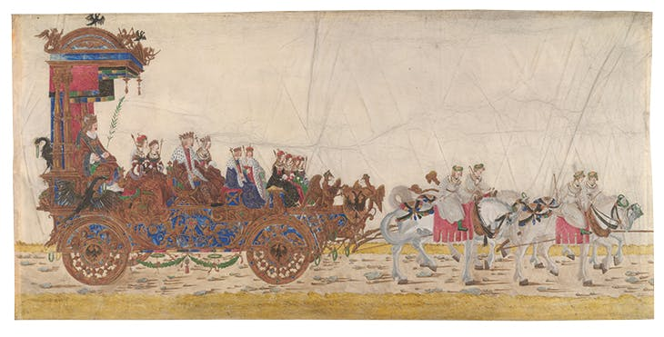 The triumphal car of the Emperor with his family, from Triumphal Procession of Emperor Maximilian I (c. 1512–15), Albrecht Altdorfer. Albertina Museum, Vienna