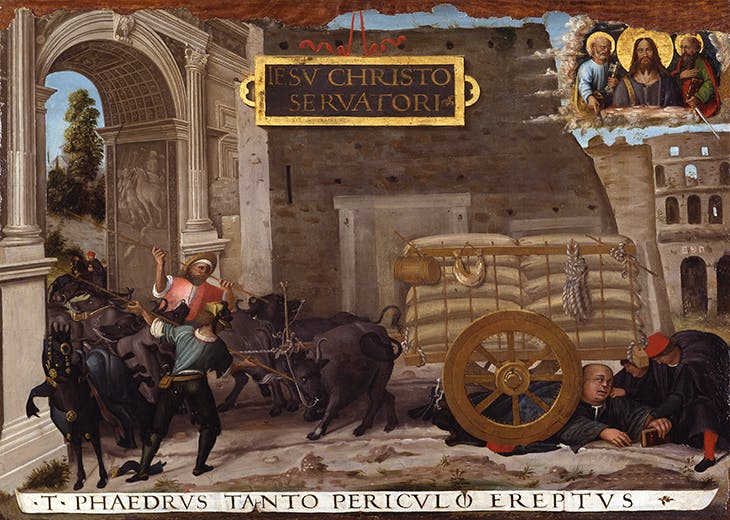 Ex-voto of Tommaso Inghirami Fallen under an Ox-Cart in Rome (c. 1508), Raphael.