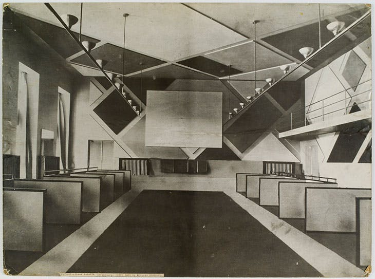 The Ciné-bal (cinema-ballroom) at Café L'Aubette, Strasbourg (1926–28), designed by Theo van Doesburg.