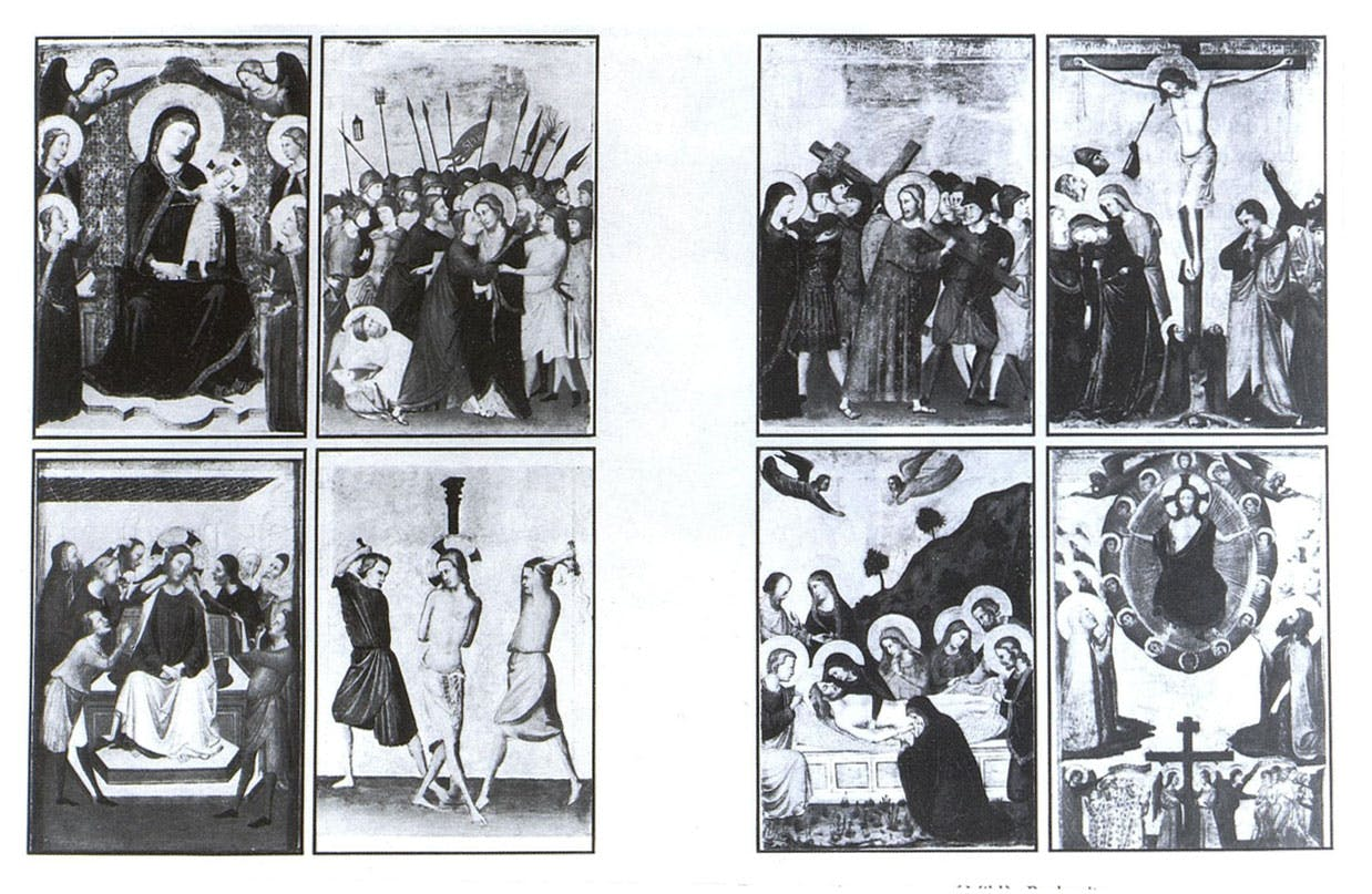 Miklós Boskovits's reconstruction of eight panels by the Maestro di San Martino alla Palma, painted in c. 1320, as a diptych