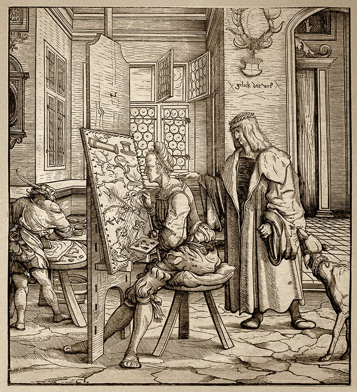 The Joy and Skill He Showed in His Instructions for Paintings… , from Weisskunig (1514–16), Hans Burgkmair the Elder. Albertina Museum, Vienna