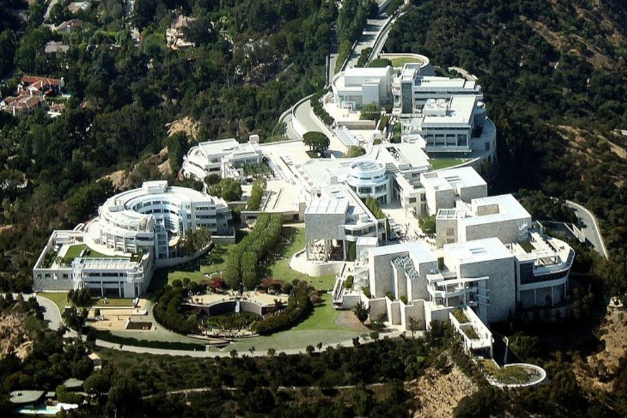 An aerial view of the Getty Center.