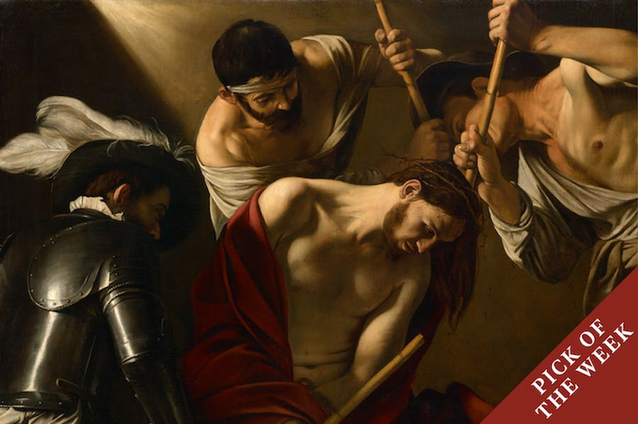 The Crowning with Thorns (detail; c. 1603), Caravaggio.