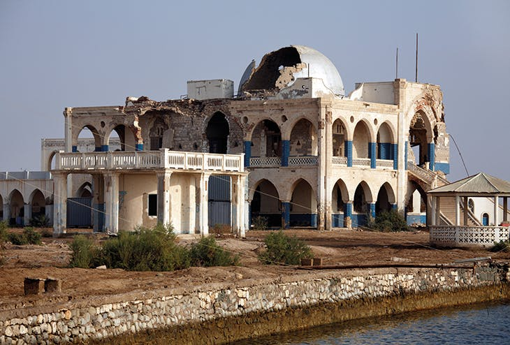 The Governor's Palace in Massawa – built in 1872, later used by Haile Selassi as his winter residence, and badly damaged in 1990 during the Ethiopian bombardment of Eritrea.