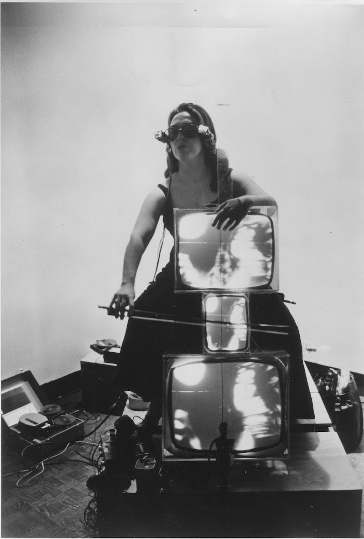 Charlotte Moorman with TV Cello and TV Eyeglasses (1971), Nam June Paik.