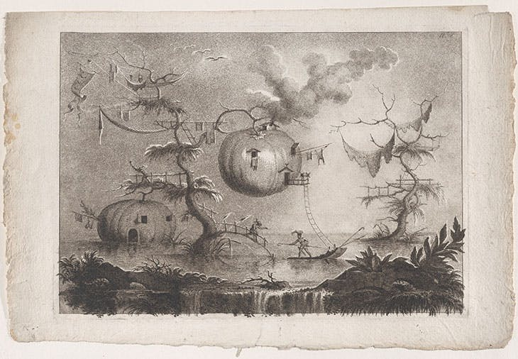 'Pumpkins used as dwellings to secure against wild beasts', plate 7 from 'The collection of most notable things seen by John Wilkins, erudite English bishop, on his famous trip from the Earth to the Moon' (after 1783), Filippo Morghen. Metropolitan Museum of Art, New York
