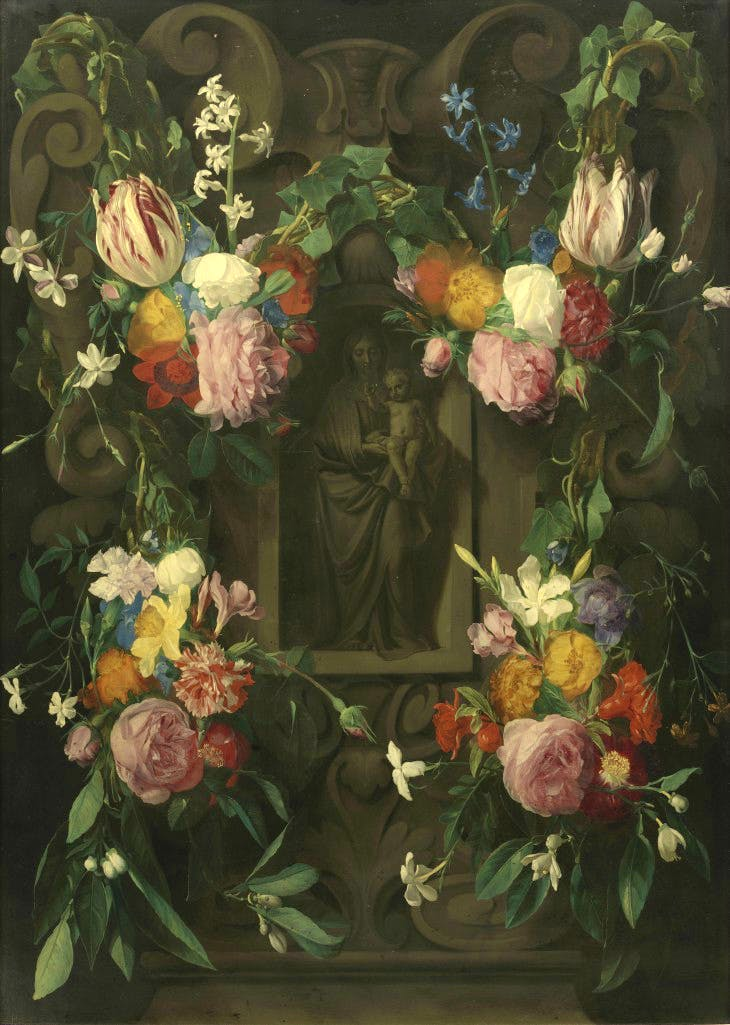 Flower Garland with the Virgin and Child (c. 1645–50), Daniel Seghers.
