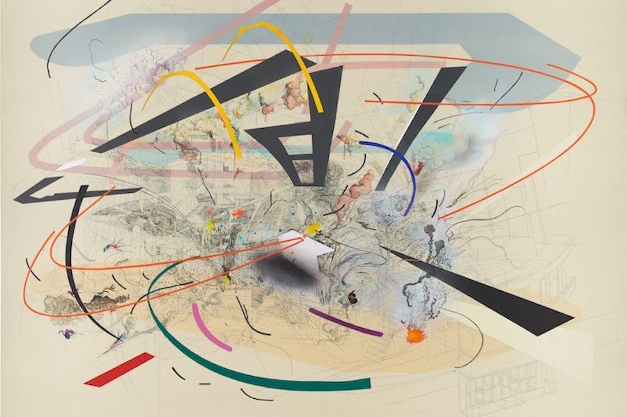 Untitled 2 (detail; 2001), Julie Mehretu.