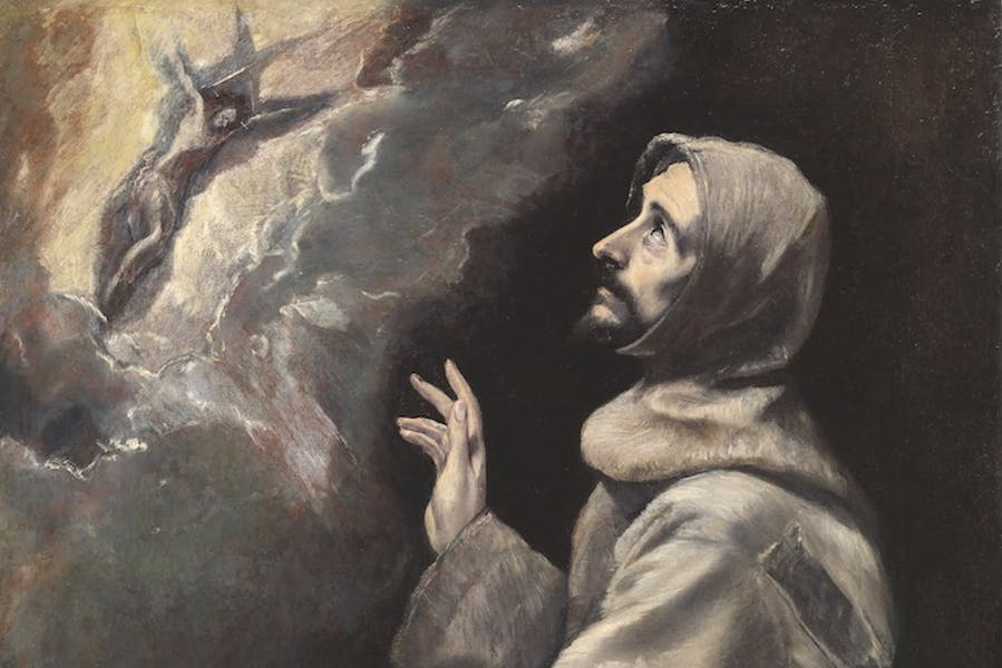 Saint Francis Receiving the Stigmata (detail; c. 1585), El Greco.