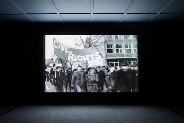 Video still from 'The Long Note' (2018) by Helen Cammock at the Turner Prize exhibition at Turner Contemporary Margate. Photo: David Levene; © the artist