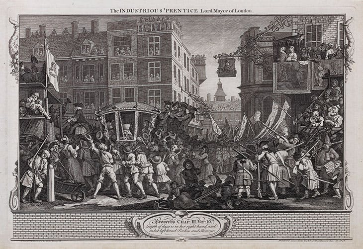 Industry and Idleness, 12: The Industrious 'Prentice Lord-Mayor of London (1747), William Hogarth.