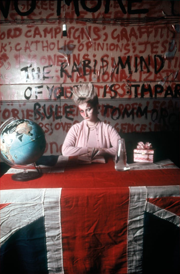 Punk icon Jordan (Pamela Rooke) appears as the 'anti-historian' Amyl Nitrate in Derek Jarman's film 'Jubilee' (1978).