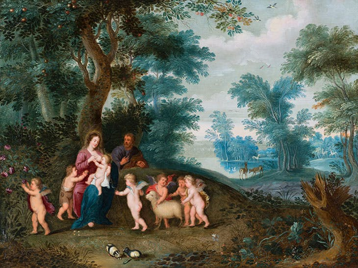 Landscape with Holy Family (c. 1630), Jan Bruegel II and Pieter van Avont. Caretto & Occhinegro