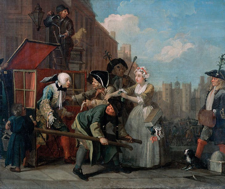 A Rake's Progress, 4: The Arrest (1734), William Hogarth.