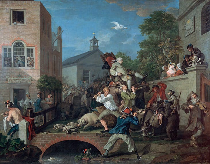 The Humours of an Election, 4: Chairing the Member (1754–55), William Hogarth.