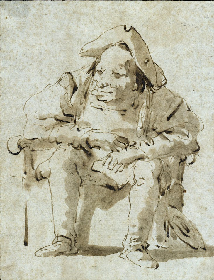 Caricature of a seated, overgrown man (on a bedside chair?) (c. 1750/60), Giovanni Battista Tiepolo.