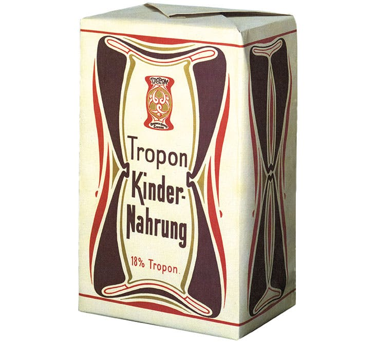 Packaging designed by Henry van de Velde for the Tropon food company in 1898.