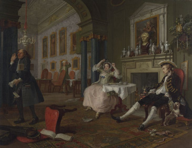 Marriage A-la-Mode, 2: The Tête à Tête (1743–45), William Hogarth.