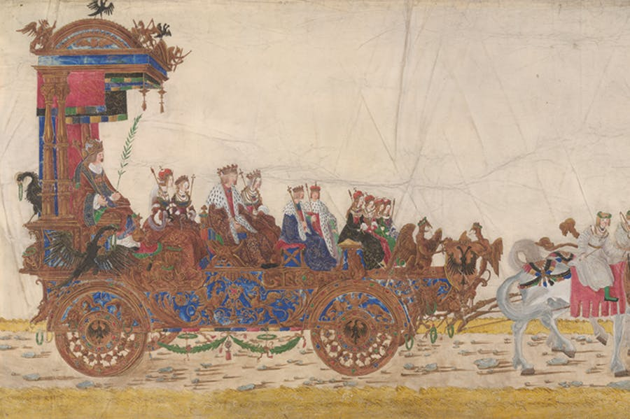 The triumphal car of the Emperor with his family (detail), from Triumphal Procession of Emperor Maximilian I (c. 1512–15), Albrecht Altdorfer. Albertina Museum, Vienna
