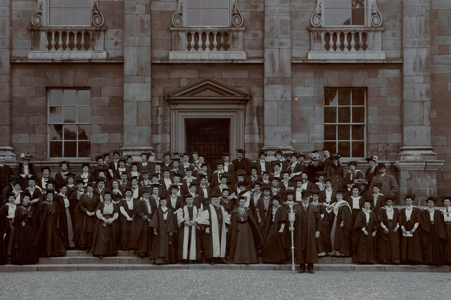Photograph from 1904/06 of 'Steamboat ladies' – women students from Cambridge who were awarded degrees by Trinity College Dublin in the 1900s. Girton College, Cambridge