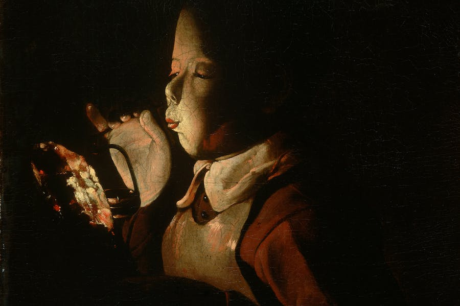 Boy Blowing on Firebrand (detail; c. 1660), Georges de la Tour.