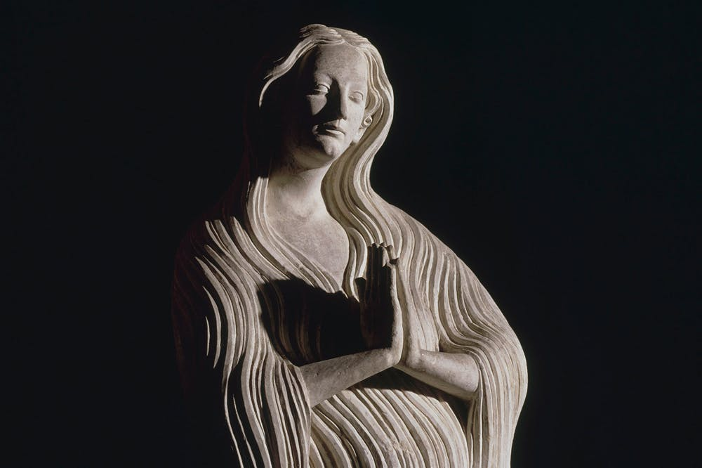 Limestone statue of Mary Magdalen (detail) (c. 1313), from the collegiate church at Écouis (Eure). Photo: © RMN-Grand Palais/Jean-Gilles Berizzi