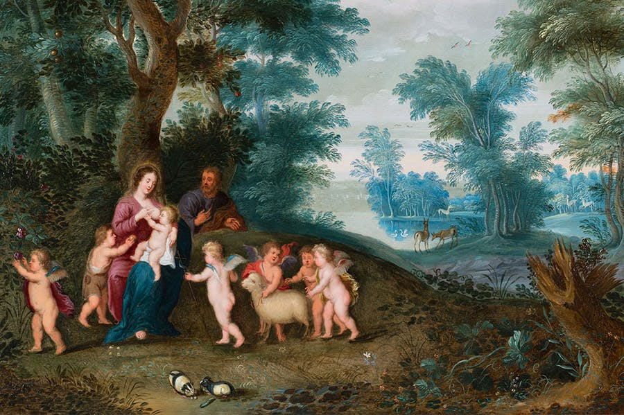 Landscape with Holy Family (detail; c. 1630), Jan Bruegel II and Pieter van Avont. Caretto & Occhinegro