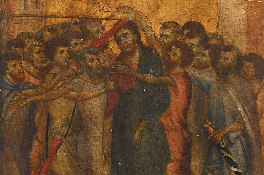 The Mocking of Christ (detail; c. 1280), Cimabue.