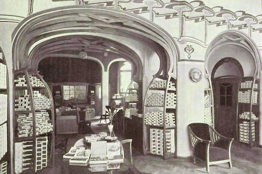 Photograph of the saleroom of the Continental Havana Company in Berlin, designed by Henry van de Velde in 1899, and published in Innen-Dekoration, October 1899.